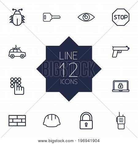 Collection Of Lock, Lock, Keypad And Other Elements.  Set Of 12 Safety Outline Icons Set.