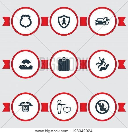 Elements Protected Vehicle, Safe Shipping, Police Badge And Other Synonyms Shield, Heart And Strongbox.  Vector Illustration Set Of Simple Insurance Icons.