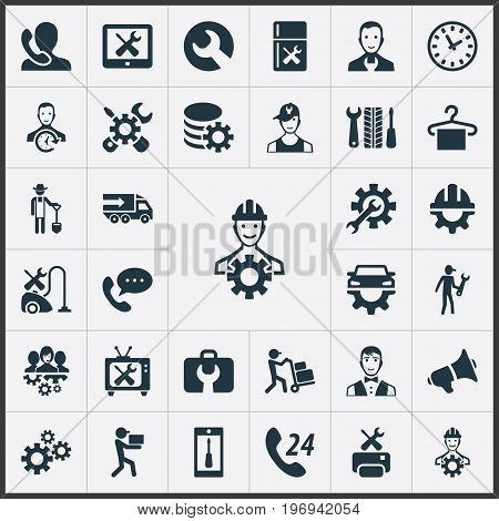 Elements Notice, Toolbox, Engineer And Other Synonyms Chronometr, Man And Gadget.  Vector Illustration Set Of Simple Help Icons.