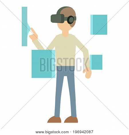 Man with high tech smart glasses icon. Cartoon illustration of man with smart glasses vector icon for web on white background