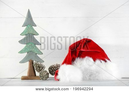 Trendy Christmas decorations on light background