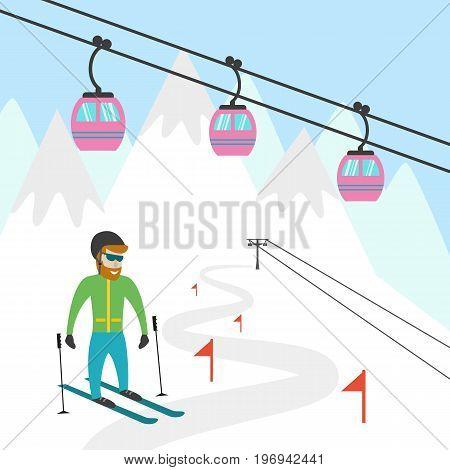 Ski resort illustration. Design for tourist catalog placard brochure flyer booklet etc. Vector illustration.