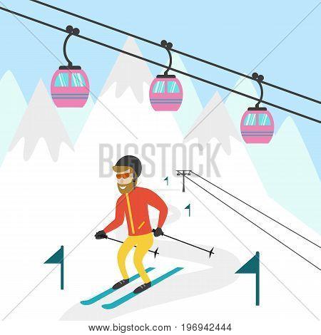 Ski resort illustration. Design for wed tourist catalog placard brochure flyer booklet etc. Vector illustration.