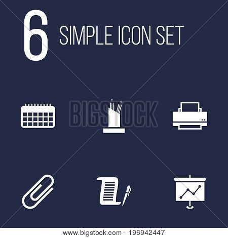 Collection Of Calendar, Printer, Clip And Other Elements.  Set Of 6 Cabinet Icons Set.