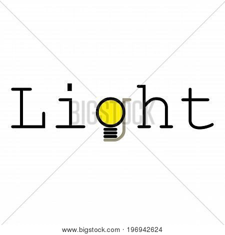 Word light icon. Cartoon illustration of word light vector icon for web on white background