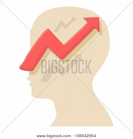 Head with arrow icon. Cartoon illustration of head with arrow vector icon for web on white background
