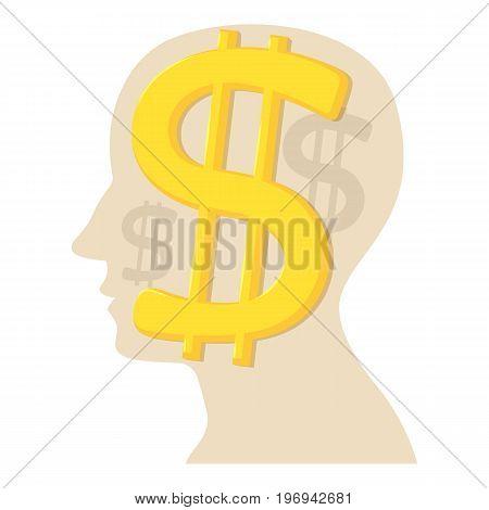 Head with dollar icon. Cartoon illustration of head with dollar vector icon for web on white background