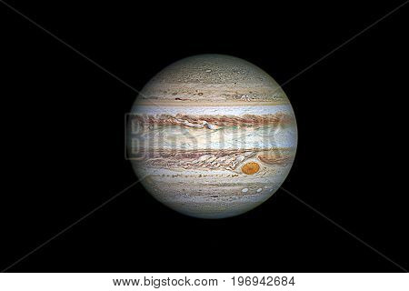 Jupiter Planet, Isolated On Black..elements Of This Image Are Furnished By Nasa.