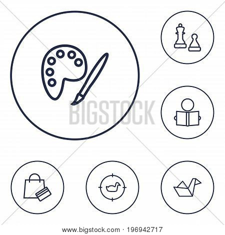 Collection Of Hunting, Shopping, Chess And Other Elements.  Set Of 6 Entertainment Outline Icons Set.