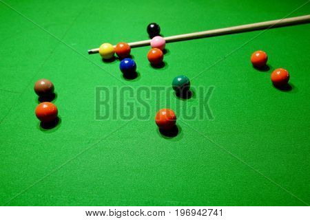 Snooker Balls And Cue On Snooker Table