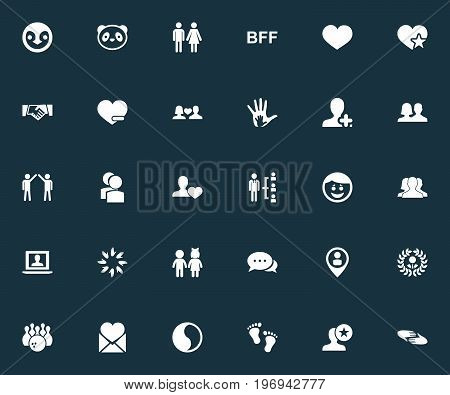 Elements Mail With Heart, Penguin, Merry And Other Synonyms Companions, Pin And Alliance.  Vector Illustration Set Of Simple  Icons.