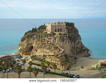 Monastry On A Rock In Sea With Church Of Santa Maria In Tropea In Southern Italy