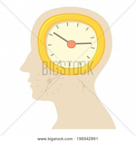 Head with clock icon. Cartoon illustration of head with clock vector icon for web on white background