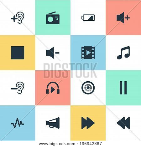Elements Musical Speaker, Plus, Sound And Other Synonyms Melody, Pause And Quiter.  Vector Illustration Set Of Simple Audio Icons.
