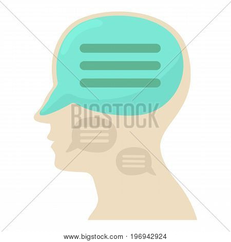 Head with chat icon. Cartoon illustration of head with chat vector icon for web on white background