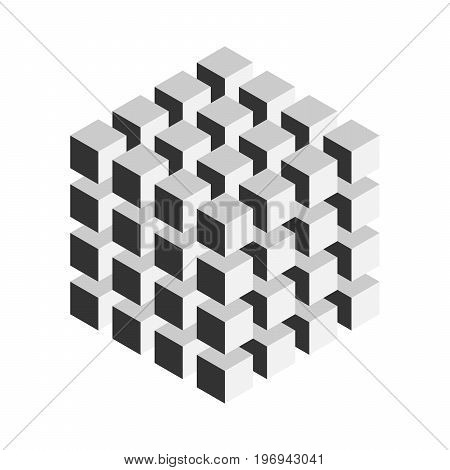 Grey geometric cube of 64 smaller isometric cubes. Abstract design element. Science or construction concept. 3D vector object.