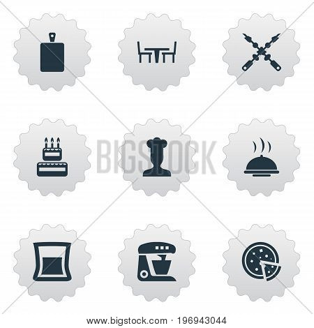 Elements Bbq, Table, Cook And Other Synonyms Bbq, Coffee And Cook.  Vector Illustration Set Of Simple Gastronomy Icons.