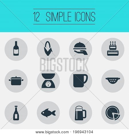Elements Scales, Rinser, Hot Dish And Other Synonyms Wine, Bottle And Italy.  Vector Illustration Set Of Simple Preparation Icons.