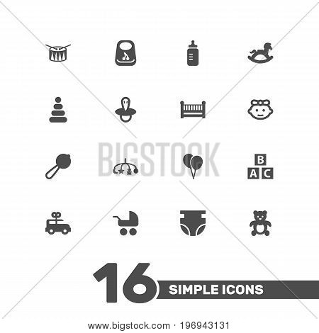 Collection Of Teat, Milk, Decoration And Other Elements.  Set Of 16 Baby Icons Set.