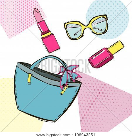 Women's accessories. Fashion Memphis Set from hand drawing nail polish lipstick sunglasses And bag with bow. Pop art abstraction background. Vector illustration