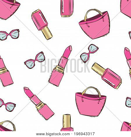 Vector Fashion Hand Drawn Seamless Pattern With Women's Accessories And Cosmetics. Trendy Background
