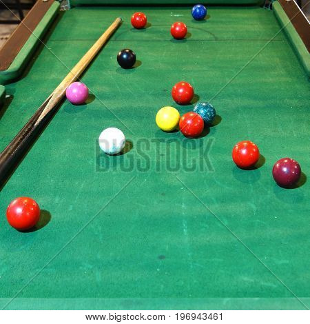 Odl Snooker Balls And Cue On Snooker Table