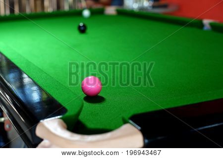 Pink Ball On Snooker Table Near To Pocket