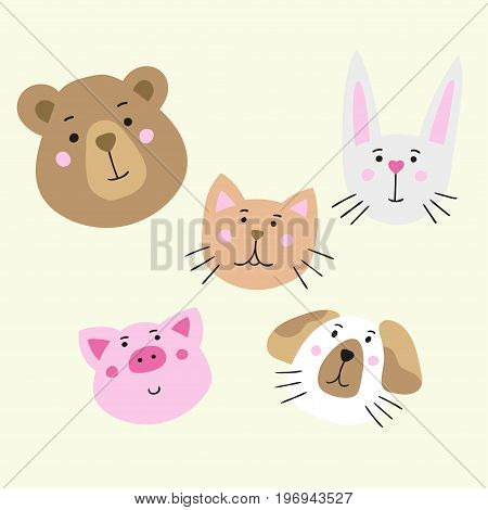 Five lovely cartoon animal muzzles. Stock vector graphics in hand-drawn style.