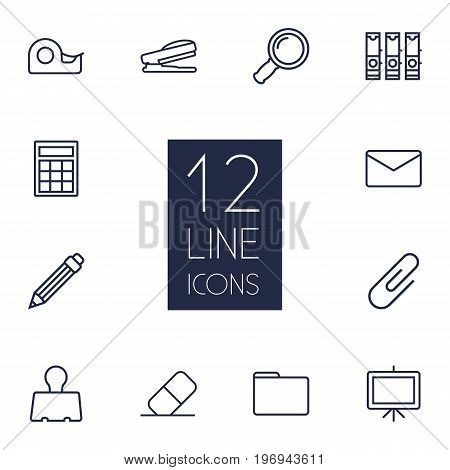 Collection Of Portfolio, Drawing, Binder Clip And Other Elements.  Set Of 12 Stationery Outline Icons Set.