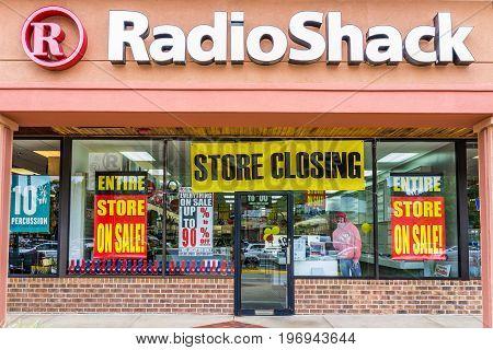 Burke, Usa - May 12, 2017: Radio Shack Store Entrance Facade With Closing Sale Sign