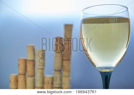 Wineglass With Graph Chart Made From Corks