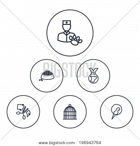Collection Of Medal, Vet, Bird Prison And Other Elements.  Set Of 6 Animals Outline Icons Set.