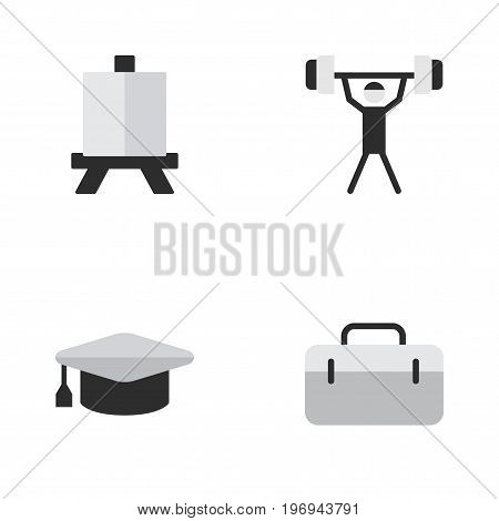 Elements Briefcase, Academic Hat, Easel And Other Synonyms Painting, Bodybuilding And Easel.  Vector Illustration Set Of Simple Education Icons.