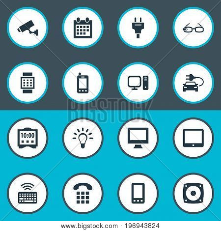 Elements Touchpad, Telephone, Keypad And Other Synonyms Bulb, Car And Loudspeaker.  Vector Illustration Set Of Simple Web Icons.