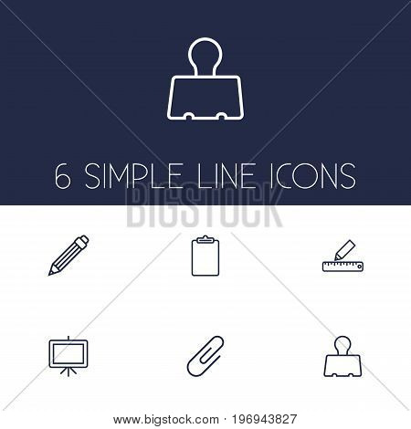 Collection Of Binder Clip, Clipboard, Whiteboard And Other Elements.  Set Of 6 Instruments Outline Icons Set.