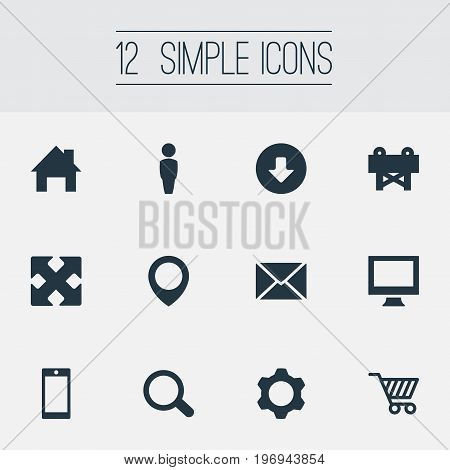 Elements Upload, Reconstruction, Message And Other Synonyms Monitor, Customer And Screw.  Vector Illustration Set Of Simple Web Icons.