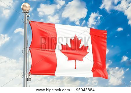 Canadian flag waving in blue cloudy sky 3D rendering