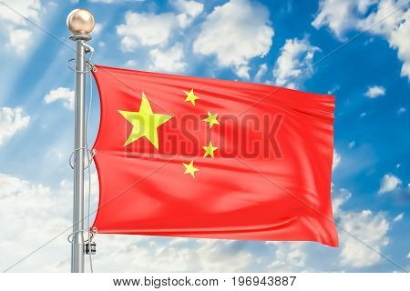 Chinese flag waving in blue cloudy sky 3D rendering
