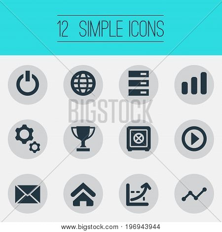 Elements Switch Off, Database, House And Other Synonyms House, Strongbox And Champion.  Vector Illustration Set Of Simple Entrepreneurship Icons.