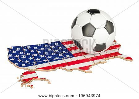 Football ball with map of USA concept 3D rendering