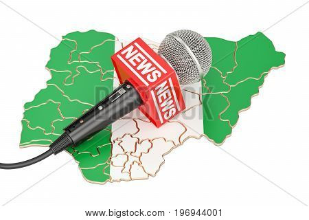 Nigerian News concept microphone news on the map of Spain. 3D rendering