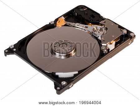 Photo of laptop and PC hard disk drive inside isolate background
