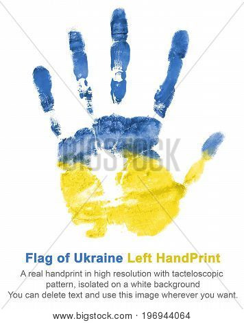 Imprint of left hand in blue and yellow paints colors flag of ukraine isolated