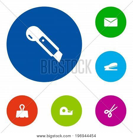 Collection Of Puncher, Mail, Clippers And Other Elements.  Set Of 6 Tools Icons Set.