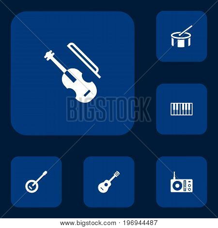 Collection Of Radio, Banjo, Octave Keyboard And Other Elements.  Set Of 6 Melody Icons Set.