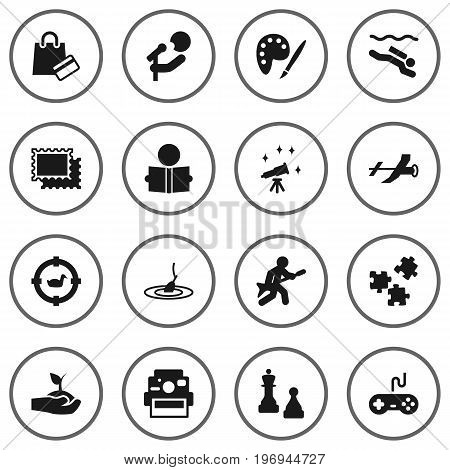 Collection Of Learning, Target, Rod And Other Elements.  Set Of 16 Entertainment Icons Set.