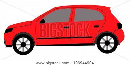 red car motor vehicle wheels saloon hatchback