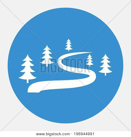 Ski route icon for winter sports. Route icon for tourism. Forest trail. Vector illustration.