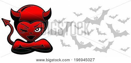 Illustration. Demon. Devil. Horizontal banner. Bats at the background. Cross of arms