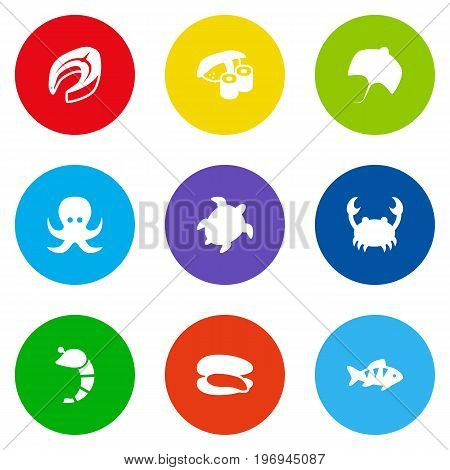 Collection Of Japanese Roll, Devilfish, Crustaceans And Other Elements.  Set Of 9 Food Icons Set.